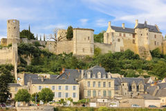 City view and Fortress. Chinon. France stock images