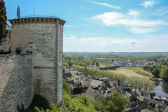 City view and Fortress Tower. Chinon. France royalty free stock photos