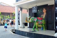 City view of Galle, Sri lanka. January 3, 2018, Galle, Sri lanka. Colorful elephant in front of shop in Galle, typical sri lankan street view. Popular touristic Royalty Free Stock Image