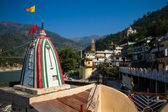 City view and Ganges river in Rishikesh Stock Photography