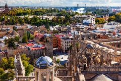 City View from Giralda Tower Seville Cathedral Spain Royalty Free Stock Images
