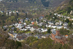 City view of Heimbach with castle in the Eifel Stock Image