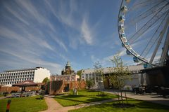 City view of helsinki with ferris wheel Stock Photography