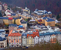 City View from the Hill. Small town Karlovy Vary in Czechoslovakia. View from a near-by hill Stock Images