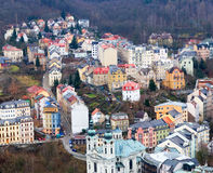 City view from the hills. A kind on the European small town is located between hills Royalty Free Stock Photography