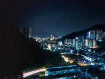 City view from hilltop. Lights, night stock image