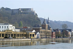 City view of historic center and river Meuse Dinant Royalty Free Stock Photography