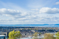 City view on the Houses from the Hill in Edinburgh, Scotland Royalty Free Stock Image