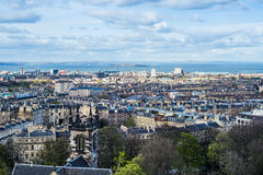City view on the Houses from the Hill in Edinburgh, Scotland Royalty Free Stock Photo