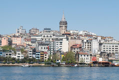 City view of Istanbul, Turkey from the sea overlooking Galata To. Istanbul, Turkey - April 25, 2017: City view of Istanbul from the sea overlooking Galata Tower Stock Photography