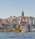 City view of Istanbul, Turkey from the sea overlooking Galata Tower and Karakoy ferry terminal. Istanbul, Turkey - April 25, 2017: City view of Istanbul from the Royalty Free Stock Photo