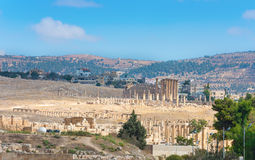 City view of Jerash with ruins and modern city Stock Photos