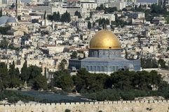 City view of Jerusalem behind the wall, close view of Dome of the rock, Israel royalty free stock image