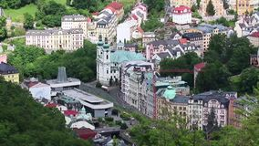 City view of Karlovy Vary stock video footage