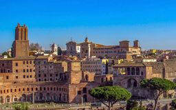 Landmarks and historic ruins in Rome, Italy stock photo