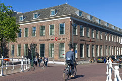City view Leiden with people and National Museum Royalty Free Stock Photo