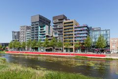City view of Lelystad with pond in the Netherlands Royalty Free Stock Photos