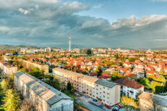 City view with low block of flats Royalty Free Stock Image