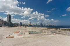 City view from Malecon on sunny day from La Havana, Cuba. La Havana, Cuba: City view from Malecon on sunny day. Malecon it& x27;s the most touristic place in La Royalty Free Stock Photography