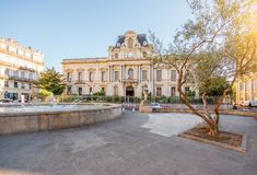 Montpellier city in France. City view on Martyrs square with beautiful building during the morning light in Montpellier city in southern France royalty free stock photo