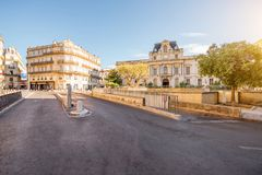 Montpellier city in France. City view on Martyrs square with beautiful building during the morning light in Montpellier city in southern France royalty free stock photos