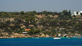 City view from the Mediterranean Sea stock footage