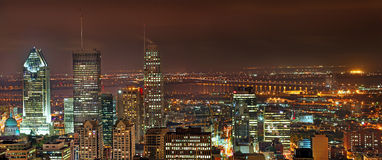 A city view of Montreal from Mt Royal at night. Royalty Free Stock Images