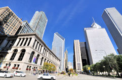 City view near Chicago Millennium Park. City buildings and street near from Millennium Park in Chicago.  Photo taken in October 6th, 2014 Royalty Free Stock Images