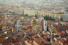 City view. View of Nice with effect miniature in warm color Royalty Free Stock Photo