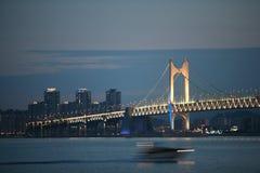 City.View at night on Kwangali Bridge Royalty Free Stock Image