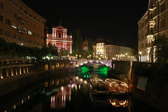 City view at night, Ljubljana, Slovenia Stock Photos