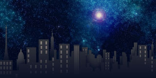 City view, night scene. A city view with stars and moon in the sky Stock Photos