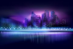City view at the night. Vector illustration. Illuminated skyscrapers. City skyline at the night. Vector illustration Stock Photos