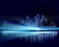 City view at night. Vector illustration Royalty Free Stock Photography