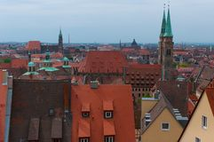 City view in Nuremberg. Nuremberg City View with orange roofs in spring, Germany Stock Image