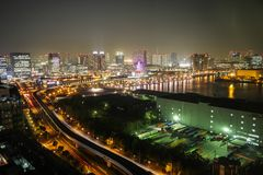 City view from Odaiba Landmark tower at night, Tokyo, Japan Stock Photography