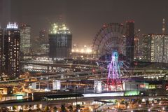 City view from Odaiba Landmark tower at night, Tokyo, Japan Royalty Free Stock Images