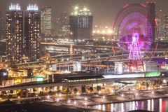 City view from Odaiba Landmark tower at night, Tokyo, Japan Royalty Free Stock Photography