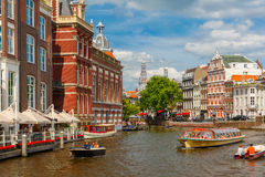 City View Of Amsterdam Canals And Typical Houses Stock Images