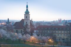 Free City View Of Prague Old Town, Czech Republic. Red Roof Tops In The Horizon. Church Of Our Lady Victorious And The Infant Jesus Royalty Free Stock Image - 216164626