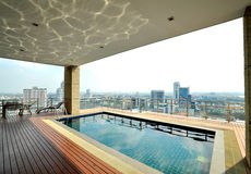 City View On The Roof Top Pool Royalty Free Stock Photography
