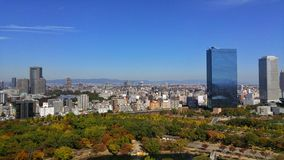 City view from Osaka castle on October 2015. Royalty Free Stock Photos