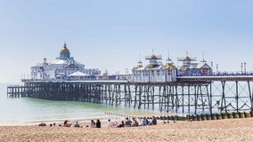 City view panoram of Eastbourne, United KIngdom. Panorama with pier and promenade in Eastbourne, Sussex, United Kingdom Royalty Free Stock Photos