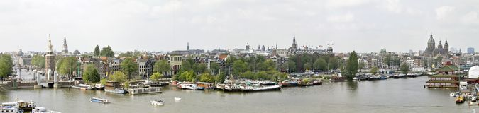 City view panorama from the city Amsterdam the Net Royalty Free Stock Image