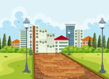 City view from the park background. Illustration vector illustration