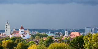 City view from Park of ponds. Vilnius. Lithuania Royalty Free Stock Photos