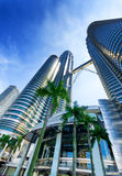 View of Petronas Twin Towers in Kuala Lumpur Royalty Free Stock Images