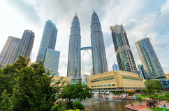 View of Petronas Twin Towers in Kuala Lumpur Royalty Free Stock Photography