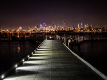 City view from a pier. Looking towards Melbourne from a ramp on St Kilda marina Stock Images