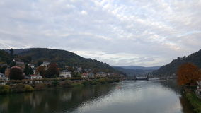 City view with river neckar in Heidelberg, Baden, Germany. Embankemnt of Neckar river in Heidelberg Baden-Wurttemberg in Germany Royalty Free Stock Photos